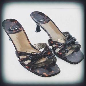 Stuart Weitzman Tortoise Kitten Heel Sandals 9